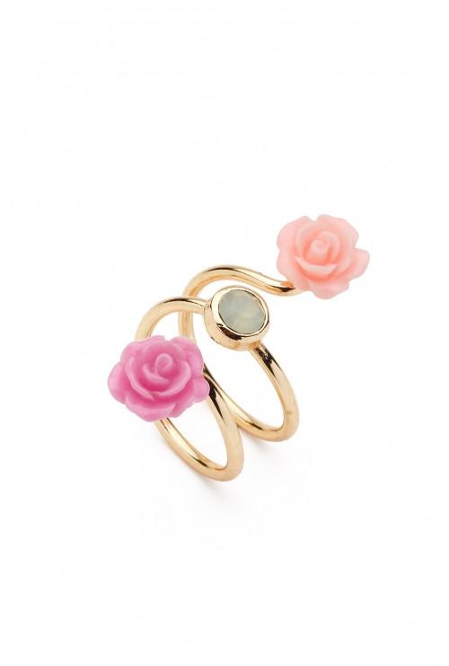 Inel Les Deux Fleurs Rose